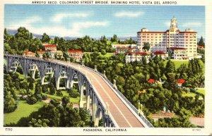 Caalifornia Pasadena Arroyo Seco Colorado Street Bridge Showing Hotel Vista D...
