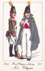 French Portuguese Infantry Voltigeurs Napoleonic War Soldier Military Postcard