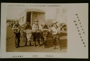 Mint California Hollywood Wandering Cowboys Stubby & Pony Real Picture Postcard