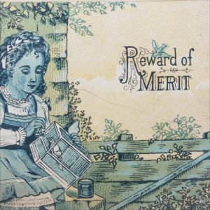 Antique Award of Merit 1880s Girl with Pet Bird in Cage Blue Green Yellow Card