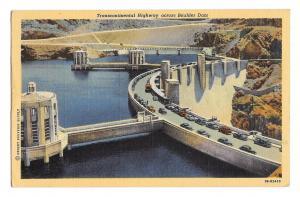 Transcontinental Highway Across Boulder Dam Lake Mead NV Vintage Linen Postcard