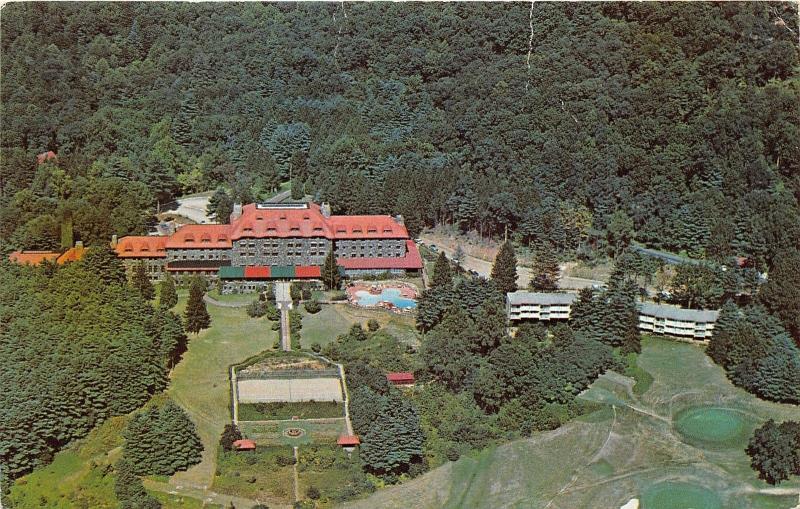 Asheville North Carolina Grove Park Inn Swimming Pool Tennis Courts View 1950s Hippostcard