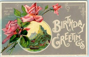 1910s BIRTHDAY GREETINGS Embossed Postcard Pink Roses / Castle Scene UNUSED