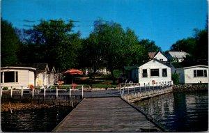 Swans Motor Court Alexandria Bay NY St Lawrence Boldt Castle Vtg Postcard