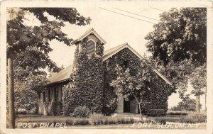 F55/ Fort Slocum New York RPPC Postcard c1920s Post Chapel Building