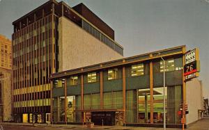 Lincoln Nebraska~1st National Bank & Trust~Digital Time & Temp Clock @ Dusk~1965