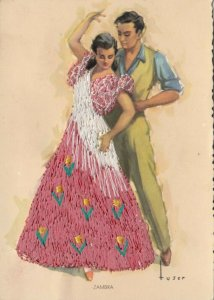AS: SPAIN, 1950-60s; Embroidered, Couple dancing the ZAMBRA
