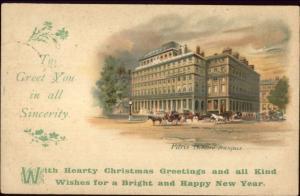 Christmas & New Year Greeting - Paris France Theatre Francais c1910 Postcard