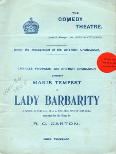 Lady Barbarity Marie Tempest Antique Comedy Theatre Programme