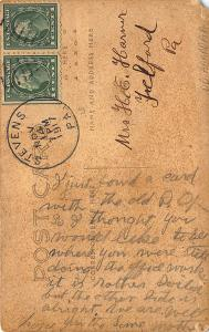 Stevens PA 1917 Post Office US Mail RFD Wagons Postmen RPPC Postcard