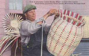 Cherokee Indian Basket Weaving - Qualla Reservation NC, North Carolina - Linen