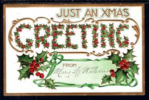 Just a Christmas Greeting,Holly