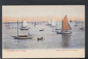 America Postcard- Greetings From Chicago, Getting Ready For The Yacht Race T7517