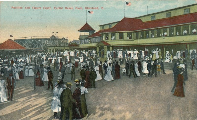 Euclid Beach Park Cleveland Ohio - Pavilion and Figure Eight Ride - pm 1910 - DB