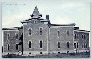 St Charles Minnesota~High School~1910 Blue Sky Postcard~Tom Jones