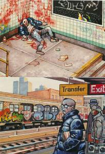 (6 cards) Subway Series by Spanish Comic Artist Pepe Moreno Prints on Postcards