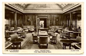 Cunard Line - RMS Mauretania, First Class Smoking Room  *RPPC