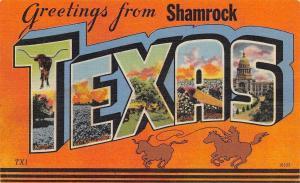 Shamrock Texas~State Large Letter Linen Postcard~Cowboy Silhouette~Longhorn~1950