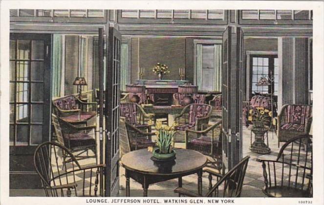 New York Watkins Glen Jefferson Hotel Lounge Curteich