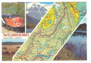 Scenic Greetings and Map, The Yellowhead Route, Kamloops, British Columbia, C...