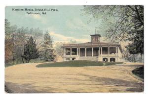 Baltimore MD Mansion House Druid Hill Park Vintage Postcard 1911