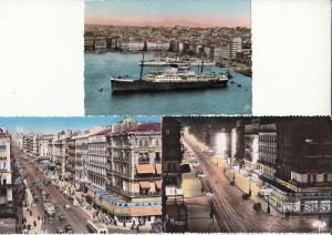 Semi-modern postcards Marseille France harbour ship stores automobiles trolley