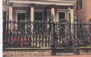 Louisiana New Orleans Ornamental Iron Corn Design Fence 915 Royal Street