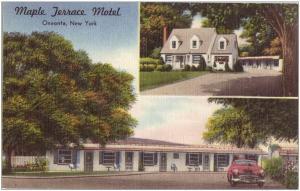 Maple Terrace Motel Car Oneonta New York 1950s linen postcard
