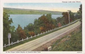 Cayuga Lake near Ithaca NY, New York - Finger Lakes Region - pm 1943 - Linen