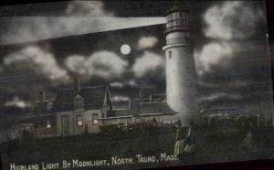 North Truro Cape Cod MA Highland Lighthouse at Night c1910 Postcard