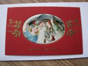 Santa Antique Christmas Postcard Red Robe Umbrella Girls - Read Desc