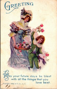 1907 - WOMAN & BOY HOLDING FLOWERS - VINTAGE POSTCARD