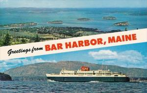 Maine Greetings From Bar Harbor Showing Bluenose & Porcupine Islands 1971
