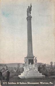 Warren Pennsylvania Soldiers Sailors Monument Antique Postcard K104829