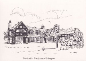 The Lad In The Lane Erdington Pub West Midlands Painting Postcard