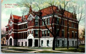 Pontiac, Illinois Postcard ST. MARY'S SCHOOL Building / Street View 1908 Cancel