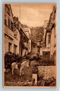 Clovelly, High Street, Vintage England Postcard