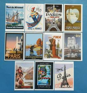 Postcards, Set of 11 NEW Stunning France Paris Reproduction Travel Posters 94S