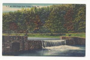 PA Valley Forge Old Forge Dam Curteich Vintage Linen Postcard