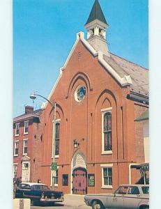 Unused 1950's OLD CARS & CHURCH SCENE Dover Delaware DE p4044@