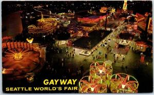 1962 Seattle World's Fair Postcard GAYWAY Midway Amusement Rides Aerial View