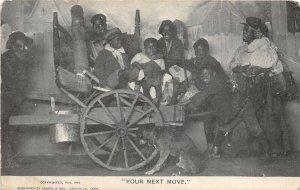 G3/ Black Americana Postcard Comic c1910 Moving Wagon Kids 6