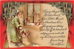 F57/ Santa Claus Merry Christmas Holiday Postcard c1910 REPRINT? Green Suit 6