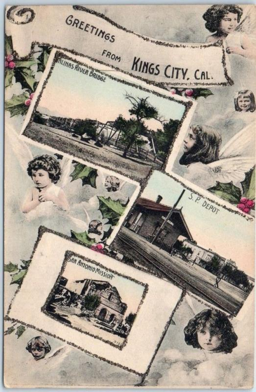 c1910 KINGS CITY California Hand-Colored Postcard Multi-View SP Railroad Depot