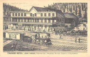 Tuckee California Hotel Railroad Scene Antique Postcard K100008