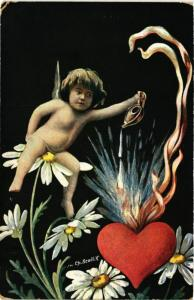 CPA Angel Sitting on a Flower and Igniting a Heart ANGELS (777392)