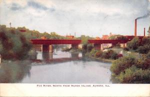 Aurora IL~Fox River North From Hurds Island~Railroad Bridge~Factories c1911