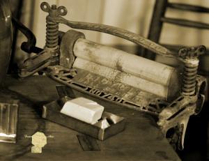 Handmade Postcard Set of 6, Antique Laundry Ringer / Handmade Lye Soap In Sepia
