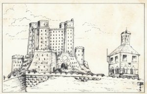 YORKSHIRE, England, 1940-60s; Yarm Castle, West Street, Line Drawing