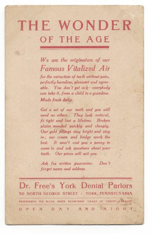 Trade Card Dr Frees York PA Dental Parlors Children Firewood